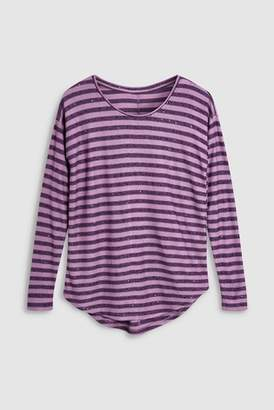Next Womens Teal Stripe Sequin Top
