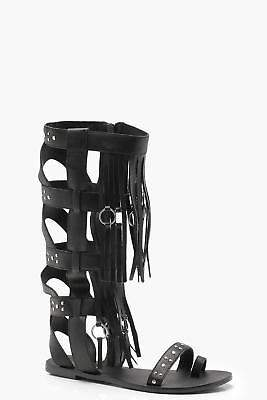 boohoo NEW Womens Studded Leather Gladiator Sandals in