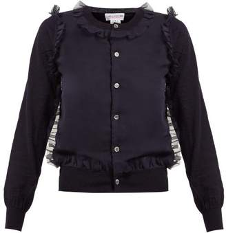 Comme des Garcons Ruffled Wool Cardigan - Womens - Navy