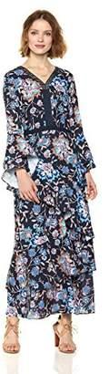 Ella Moon Women's Carleigh Asymmetrical Ruffle Maxi Dress