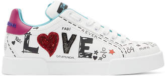 Dolce & Gabbana White Embroidered Love Sneakers
