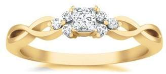 JeenJewels 0.58 Carat Discount Diamond Engagement Ring with Princess cut Diamond on 10K Yellow gold