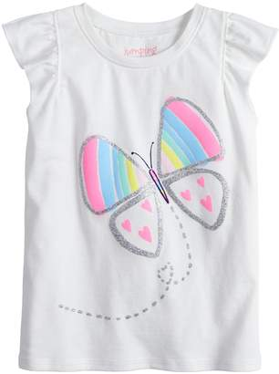 Toddler Girl Jumping Beans Glittery Graphic Flutter Tee