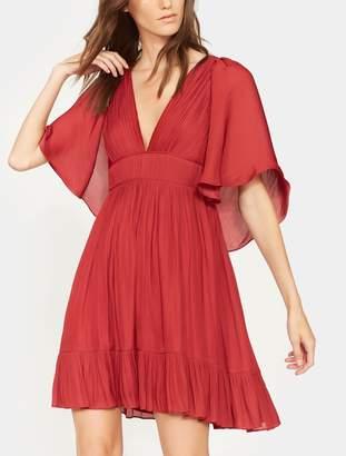 Halston Cape Sleeve Pleated Dress