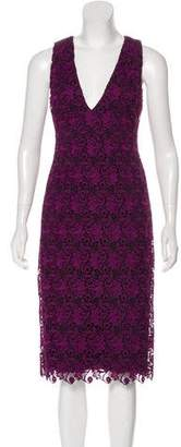 Alice + Olivia Sleeveless Lace Midi Dress