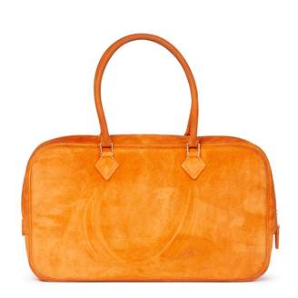 Hermes Plume Orange Suede Handbag
