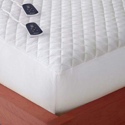 Micro Flannel® Twin Electric Mattress Pad in White