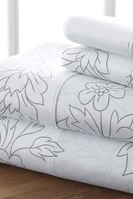 IENJOY HOME The Home Spun Premium Ultra Soft Vine Pattern 4-Piece Queen Bed Sheet Set - Gray