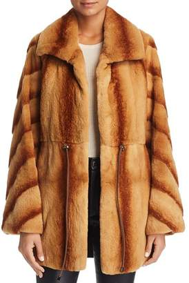 Maximilian Furs x Z.RHODES Plucked Mink Drawstring Waist Fur Coat