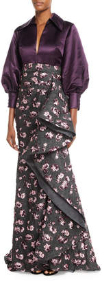 Badgley Mischka Split-Neck Long-Sleeve Satin-Top Cascade Floral-Embroidered Evening Gown