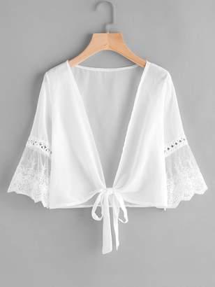 Shein Embroidered Mesh Fluted Sleeve Self Tie Kimono