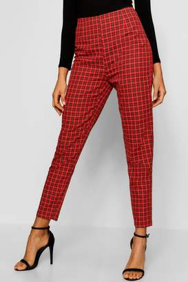 boohoo Tartan Print Tapered Check Pants
