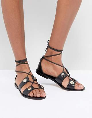Kurt Geiger London Marci leather tie up flat sandals