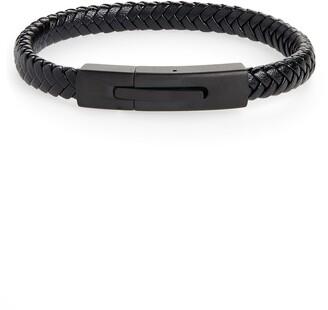 Nordstrom Braided Leather ID Bracelet