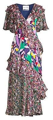 Prabal Gurung Women's Ruffled Chiffon Mixed-Print Midi Dress
