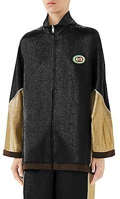 Gucci Women's Oversized Silk-Blend Lurex Zip-Front Jacket