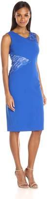 Jax Women's Sleeveless Mid Length Sheath with Lace Inserts
