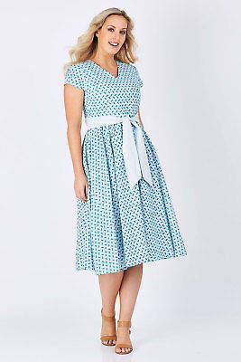 Lush that bird label Womens Calf Length Dresses Jacqueline Flare Dress Fern Blue