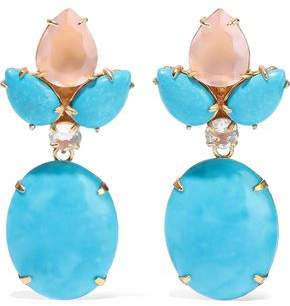 Bounkit 14-karat Gold-plated, Quartz And Turquoise Earrings