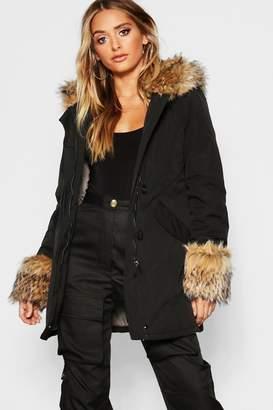 boohoo Faux Fur Hood And Cuff Parka