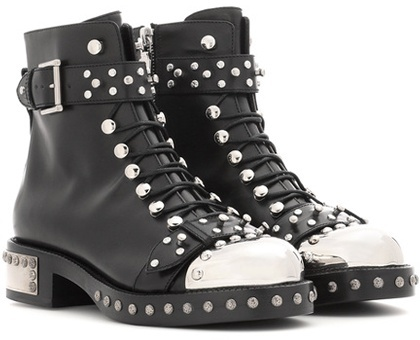 Alexander McQueen Alexander McQueen Embellished leather ankle boots