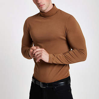 River Island Brown muscle fit roll neck T-shirt