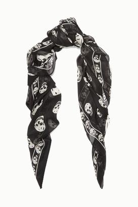 Alexander McQueen Printed Silk-chiffon Scarf - Black