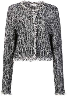 Oscar de la Renta tweed fringe knit jacket