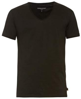 Derek Rose Jack Pima Cotton V Neck T Shirt - Mens - Black