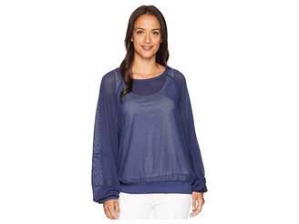 Michael Stars Mesh Long Sleeve Open Neck Sweatshirt Women's Sweatshirt