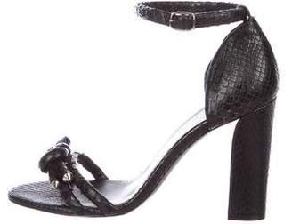Balenciaga Knot-Accented Snakeskin Sandals
