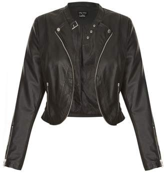City Chic Cropped Faux Leather Biker Jacket