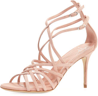 Giuseppe Zanotti Suede Caged Strappy High Sandal