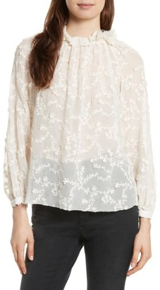 Women's Rebecca Taylor Ellie Floral Embroidered Top