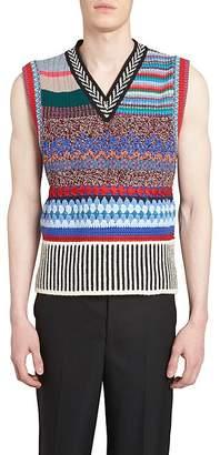 Burberry Men's Mixed-Media Mélange Wool-Blend Vest