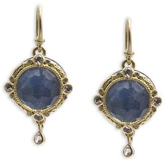 Armenta 18K Yellow Gold and Blackened Sterling Silver Old World Blue Quartz Triplet, White Sapphire and Diamond Drop Earrings - 100% Exclusive