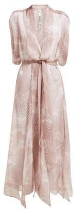 Petar Petrov Dove Snake Print Silk Midi Dress - Womens - Light Pink