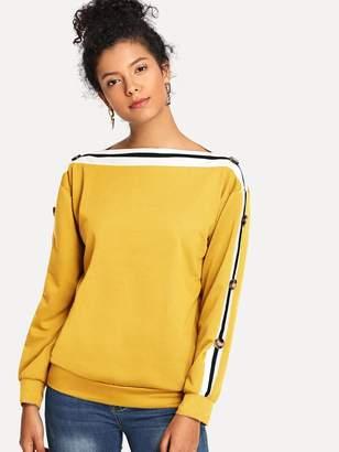 Shein Striped Button Detail Sweatshirt