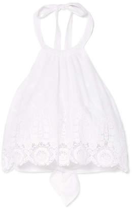Miguelina Jasper Cropped Crocheted Cotton Halterneck Top - White