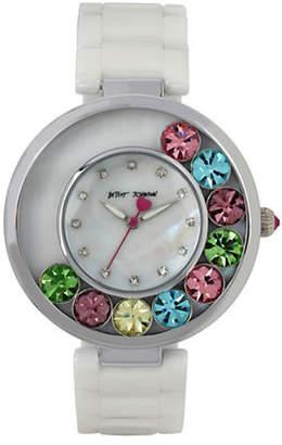 Betsey Johnson Floating Multi-Colored Stone Case and Ceramic Bracelet Watch