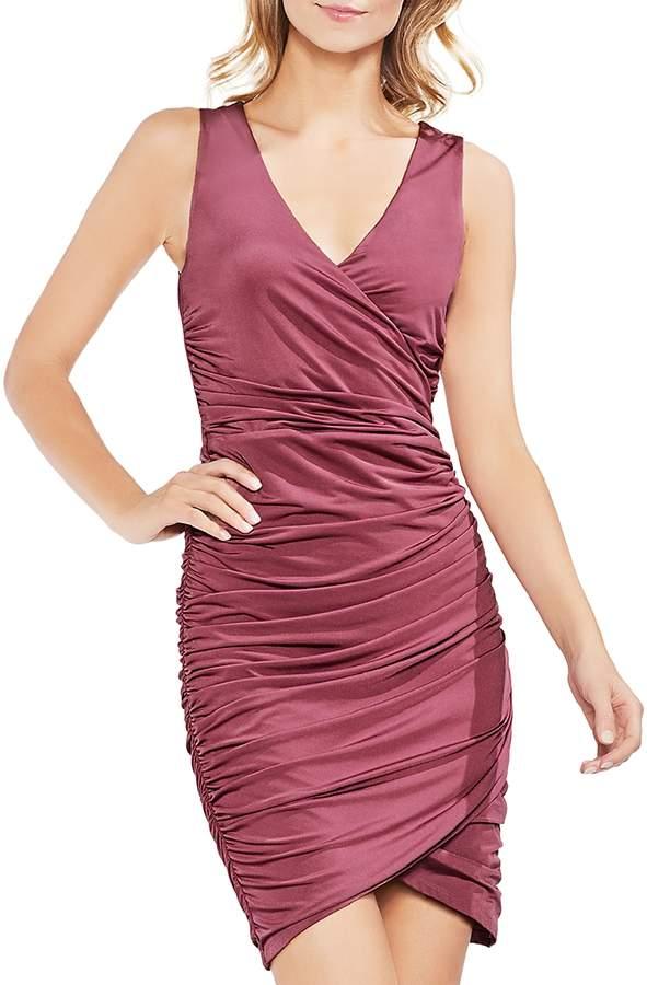 Ruched Faux-Wrap Dress