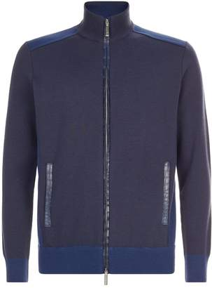 Stefano Ricci Crocodile Trim Zip-Up Cardigan