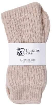 Johnstons of Elgin Cashmere Rib Knit Socks