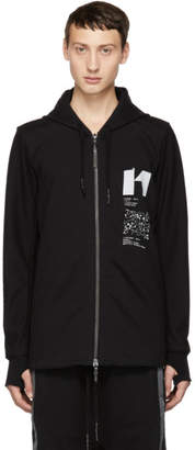 11 By Boris Bidjan Saberi Black Graphic Design Zip-Up Hoodie