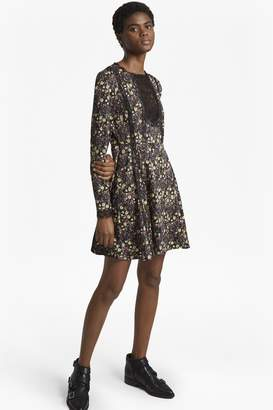 French Connection Hallie Drape Floral Flared Dress