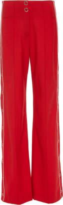 Jonathan Simkhai Ring-Snap Side Slit Wool-Crepe Wide-Leg Pants