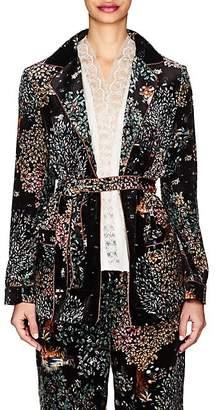 Alberta Ferretti Women's Garden-Print Velvet Belted Blazer - Black