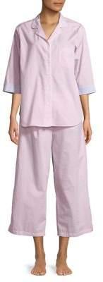 Miss Elaine Two-Piece Wide-Leg Stripe Pajama Set