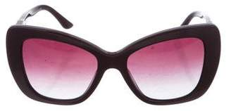 Versace Leather-Trimmed Medusa Sunglasses