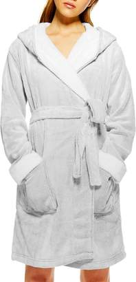 Topshop Frosted Waffle Hooded Fleece Robe